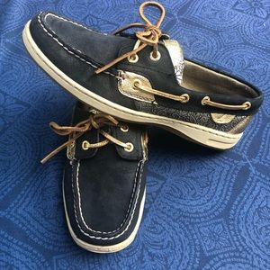 Black and Gold Sperrys